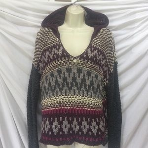 FREE PEOPLE fairisle design hooded sweater sz L